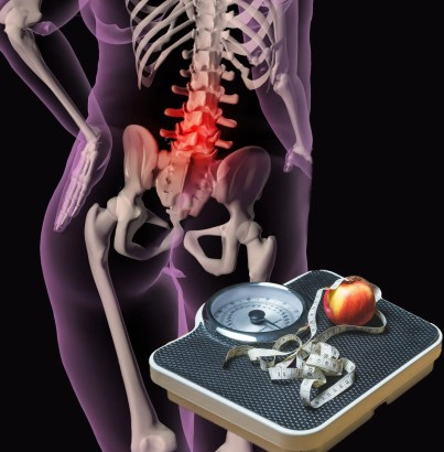 blog illustration of overweight person with back pain and scale with apple on top