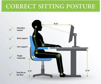 ergonomía correcta postura sentada