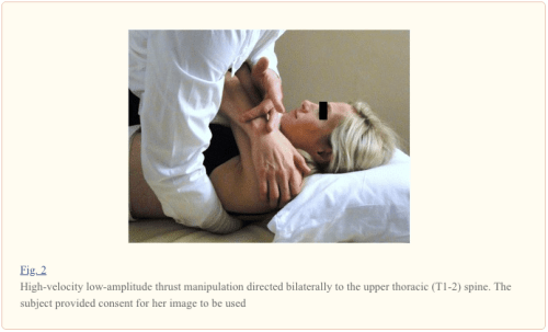 Figure 2 HVLA Thrust Manipulation Directed Bilaterally to the Upper Thoracic Spine | El Paso, TX Chiropractor