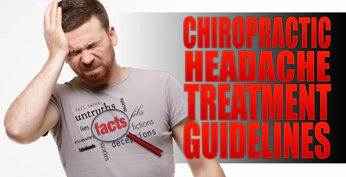 Image of a man with a headache holding his head with treatment guidelines written in his shirt.