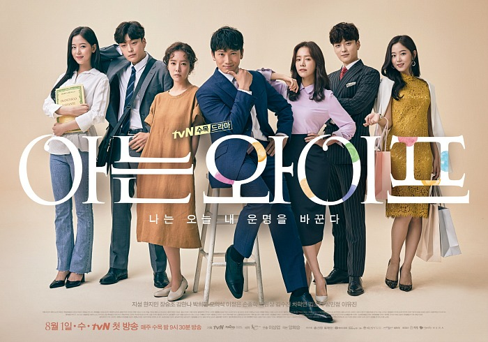 Group Poster with seven main cast members standing and looking at the camera in Korean Drama Familiar Wife
