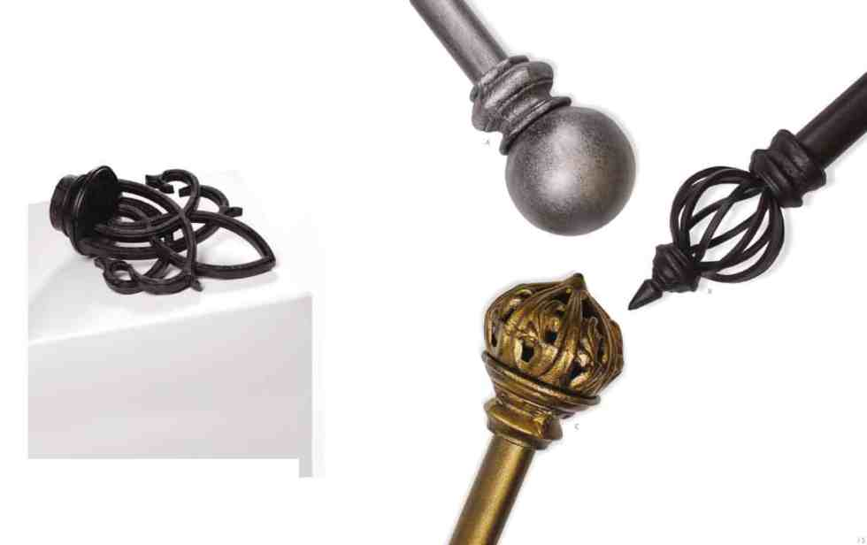 wrought iron curtain rod finial
