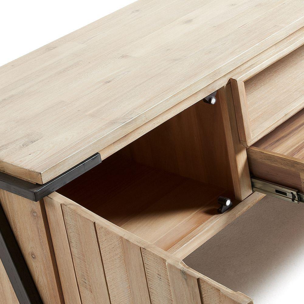 meuble tv design bois massif et metal 1 tiroir 1 porte kave home spike