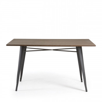 Table de jardin et table de balcon design   Drawer Table m    tal et bois indoor outdoor 150x80 Mali