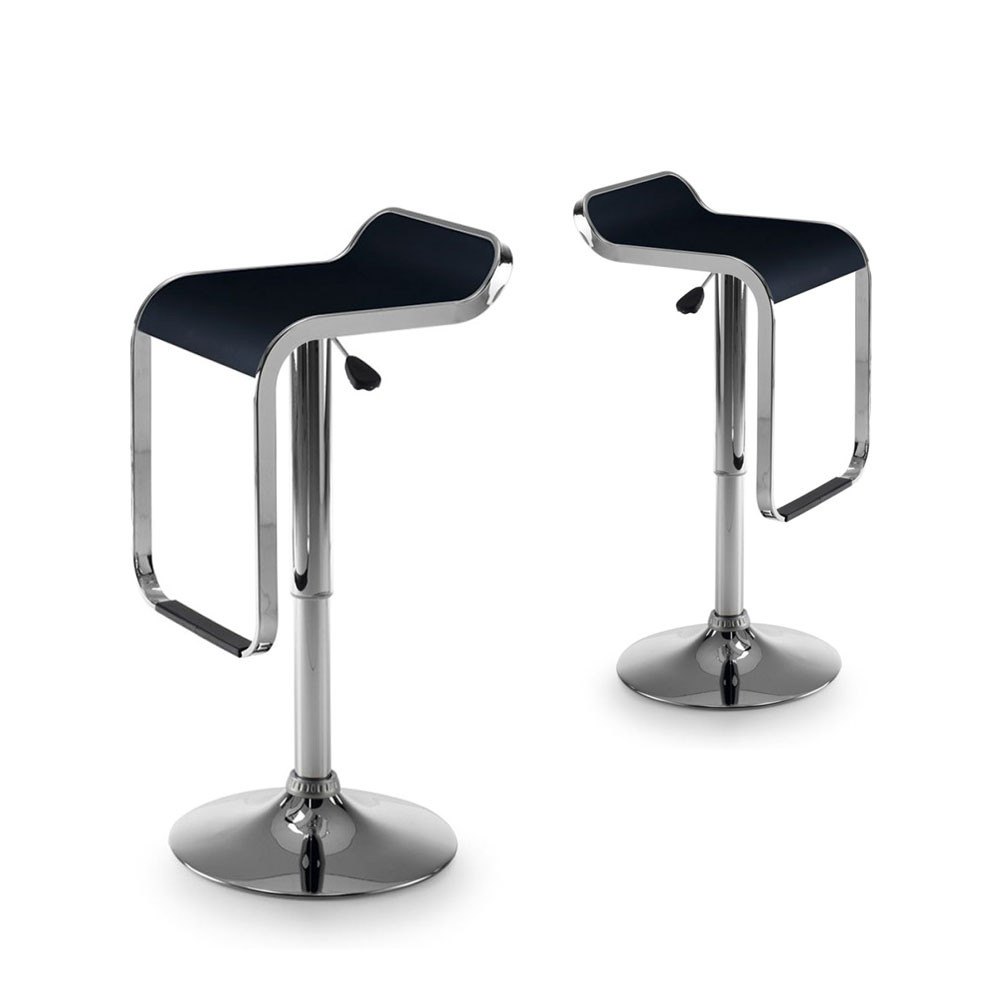 Lot De 2 Tabourets De Bar Design Noir Et Chrom Las Vegas