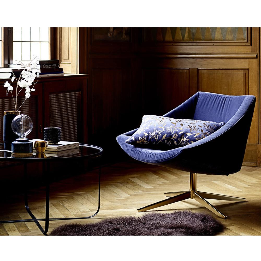 fauteuil velours et pieds or bloomingville elegant