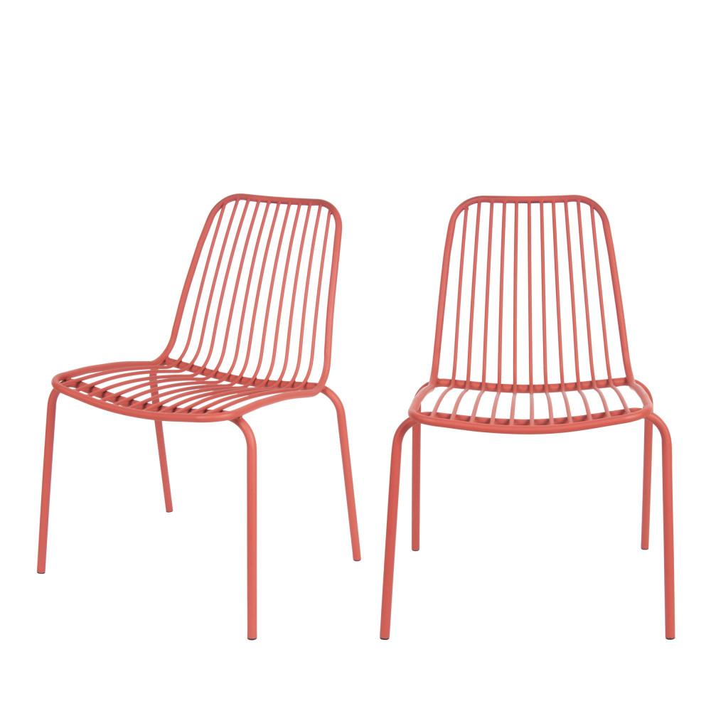 lineate 2 chaises de jardin en metal