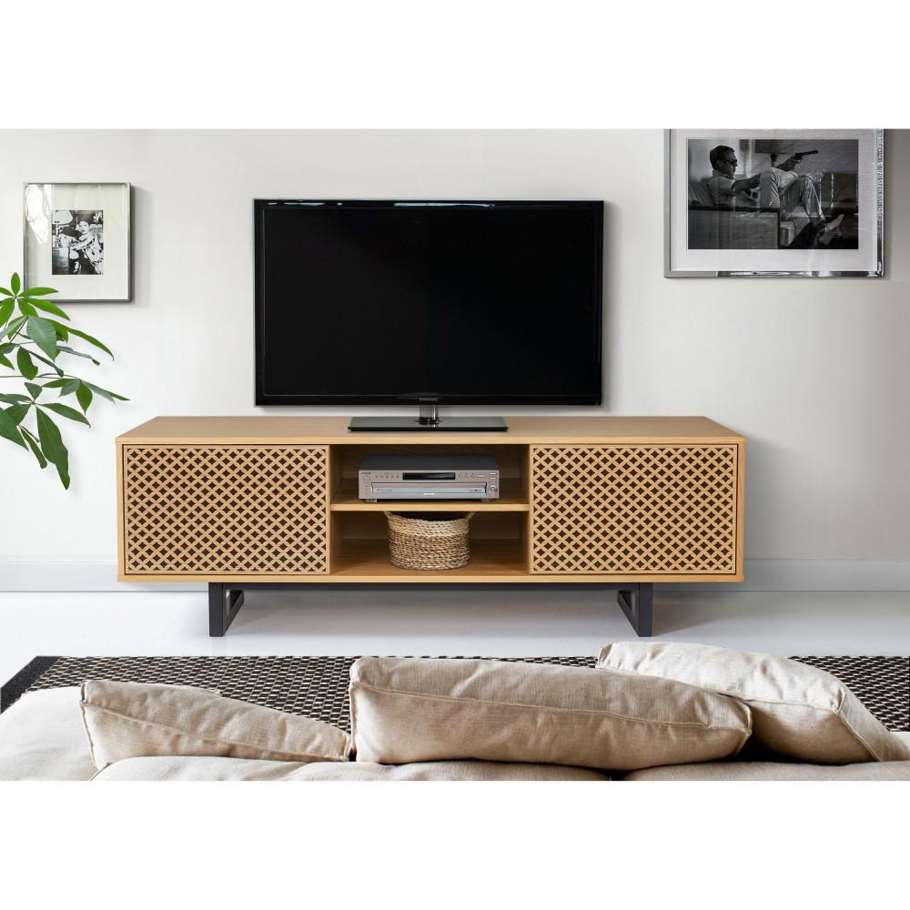 meuble tv contemporain bois motifs geometriques woodman camden