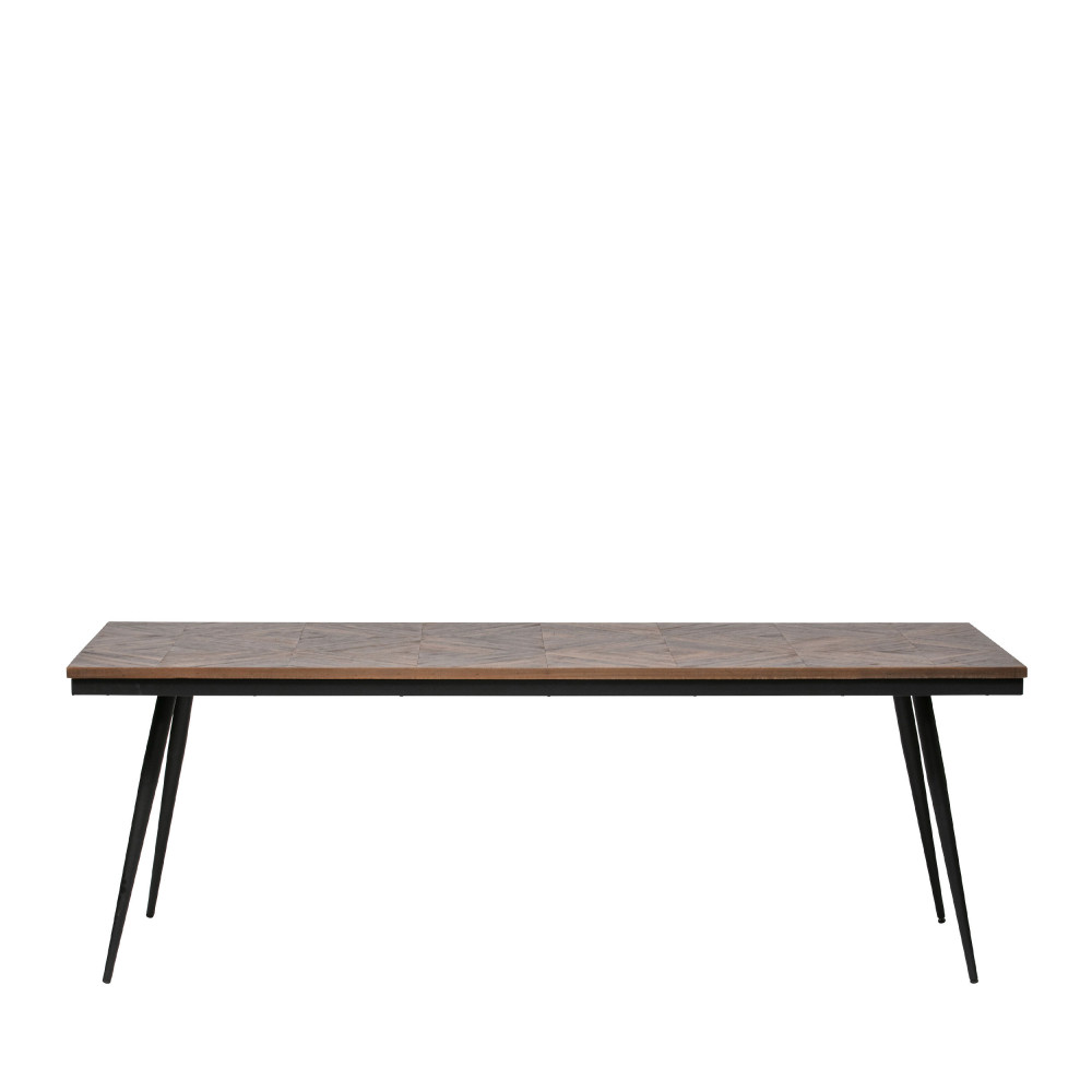 table a manger en bois et metal 220x90cm bepurehome rhombic