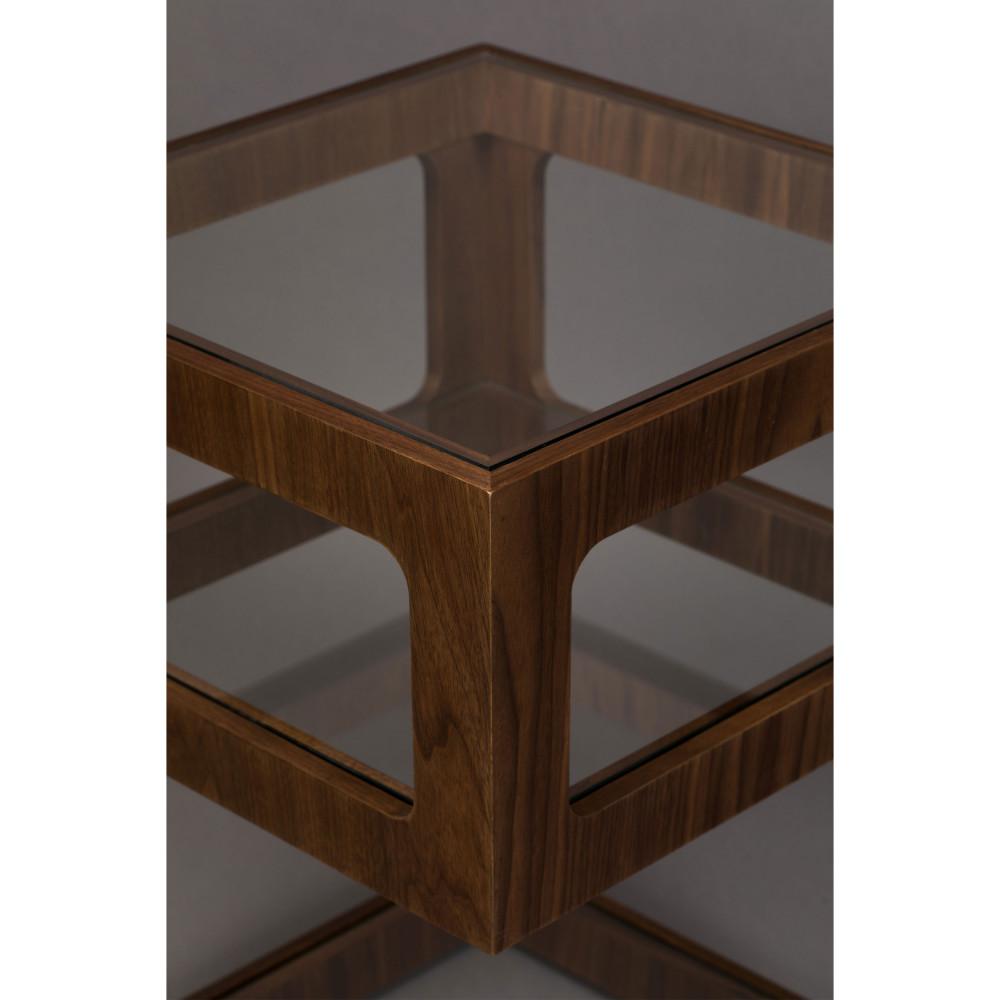 table d appoint en bois et verre dutchbone glavo