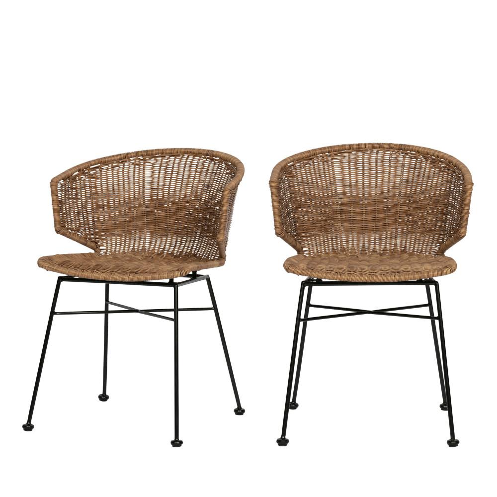 2 chaises en resine tressee woood noor