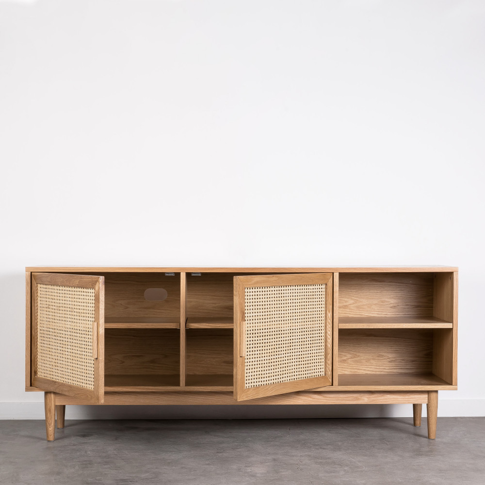hogarn meuble tv design 2 portes bois et cannage