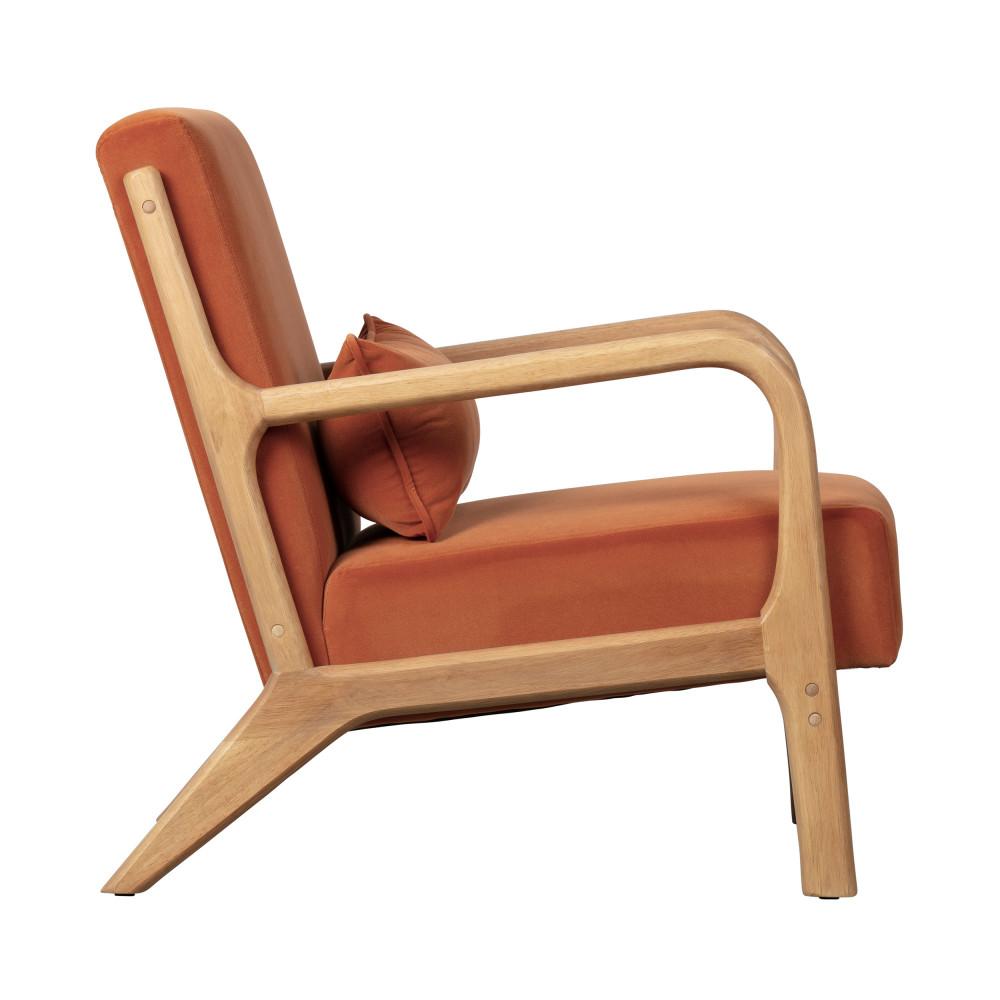 fauteuil en bois et velours woood mark