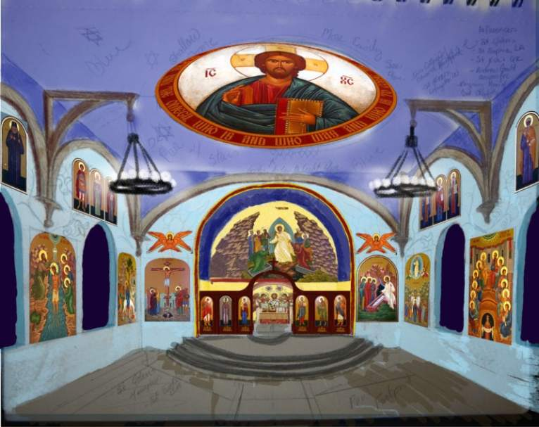 This was a sketch I did for the children's book I illustrated, Catherine's Pascha. This shows one-point perspective.