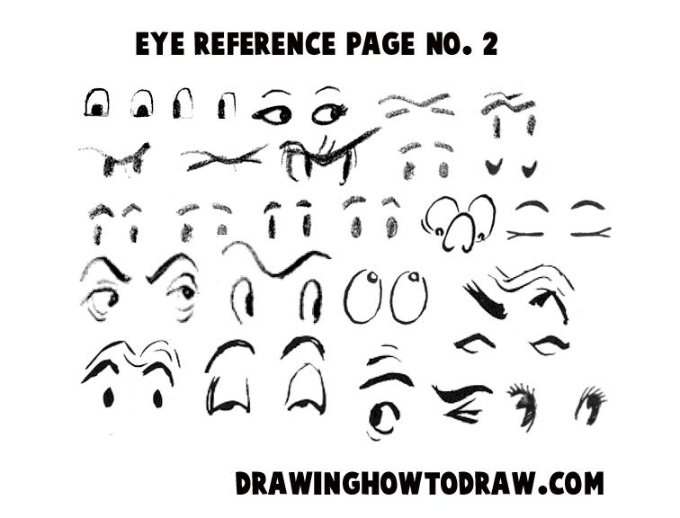 Drawing Cartoon Eyes Reference Sheet