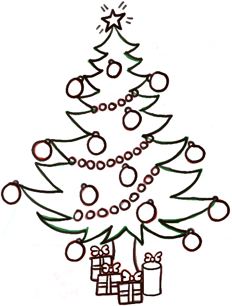 How To Draw A Christmas Tree With Gifts Amp Presents Under