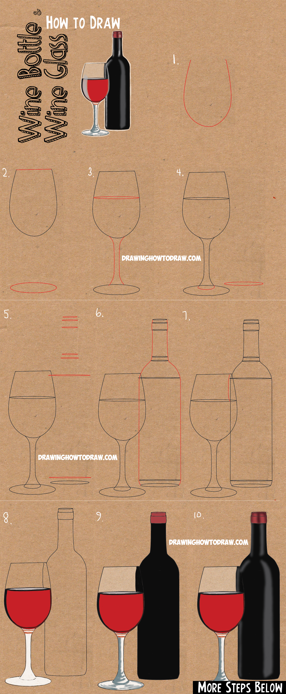 How To Draw A Bottle And Glasses Of Wine Drawing Tutorial