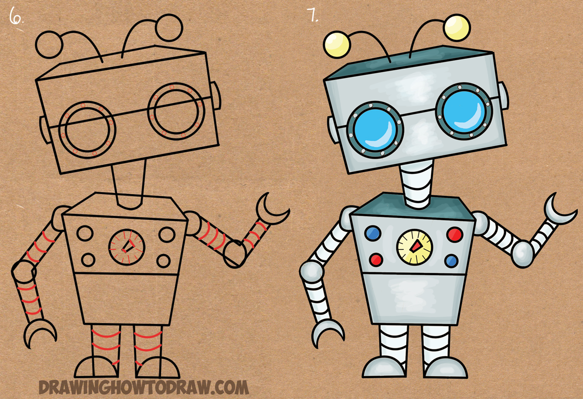 How To Draw A Cartoon Robot From Letter E Shape Easy