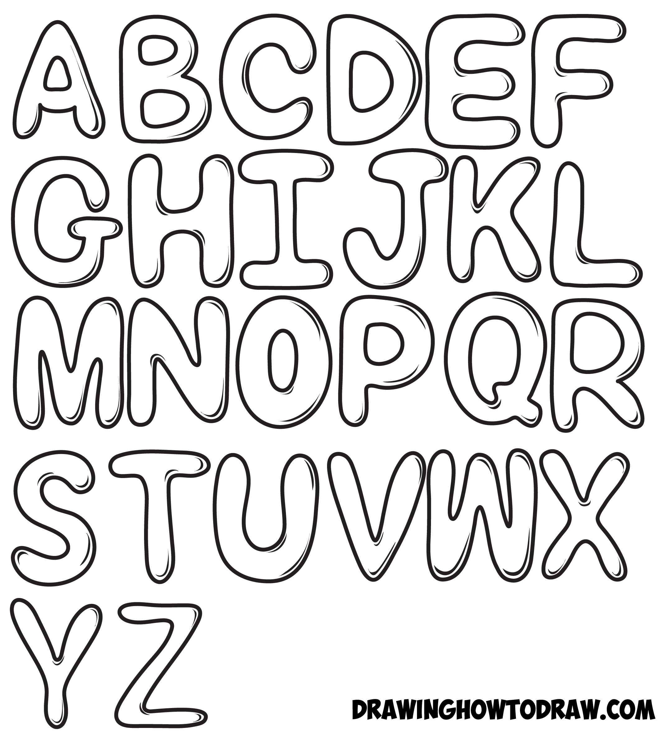 How To Draw Bubble Letters In Easy Step By Step Drawing