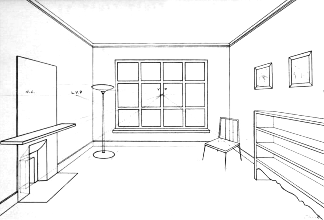 how to draw a bedroom in 2 point perspective