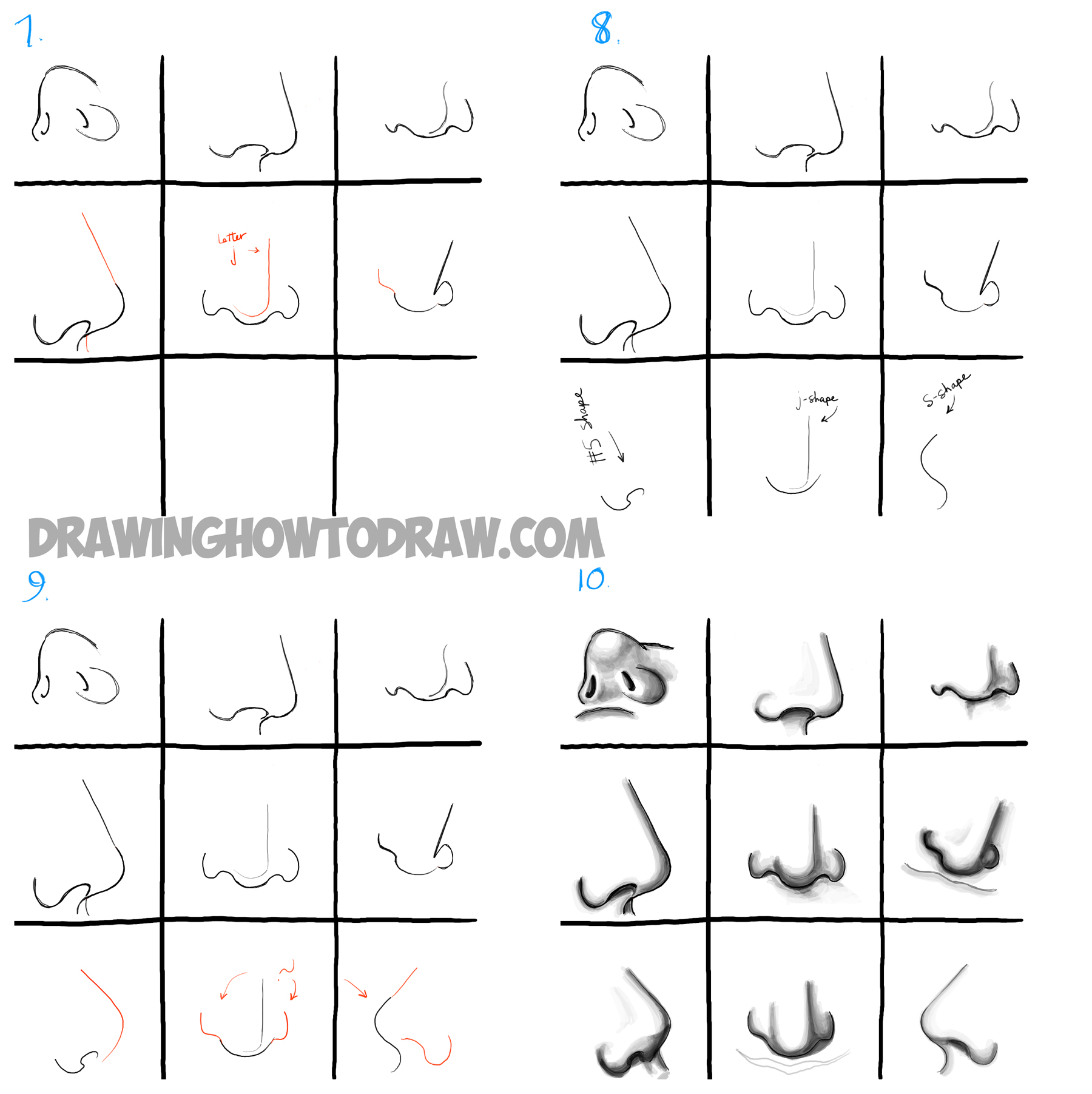 How To Draw Noses From All Different Angles And Positions