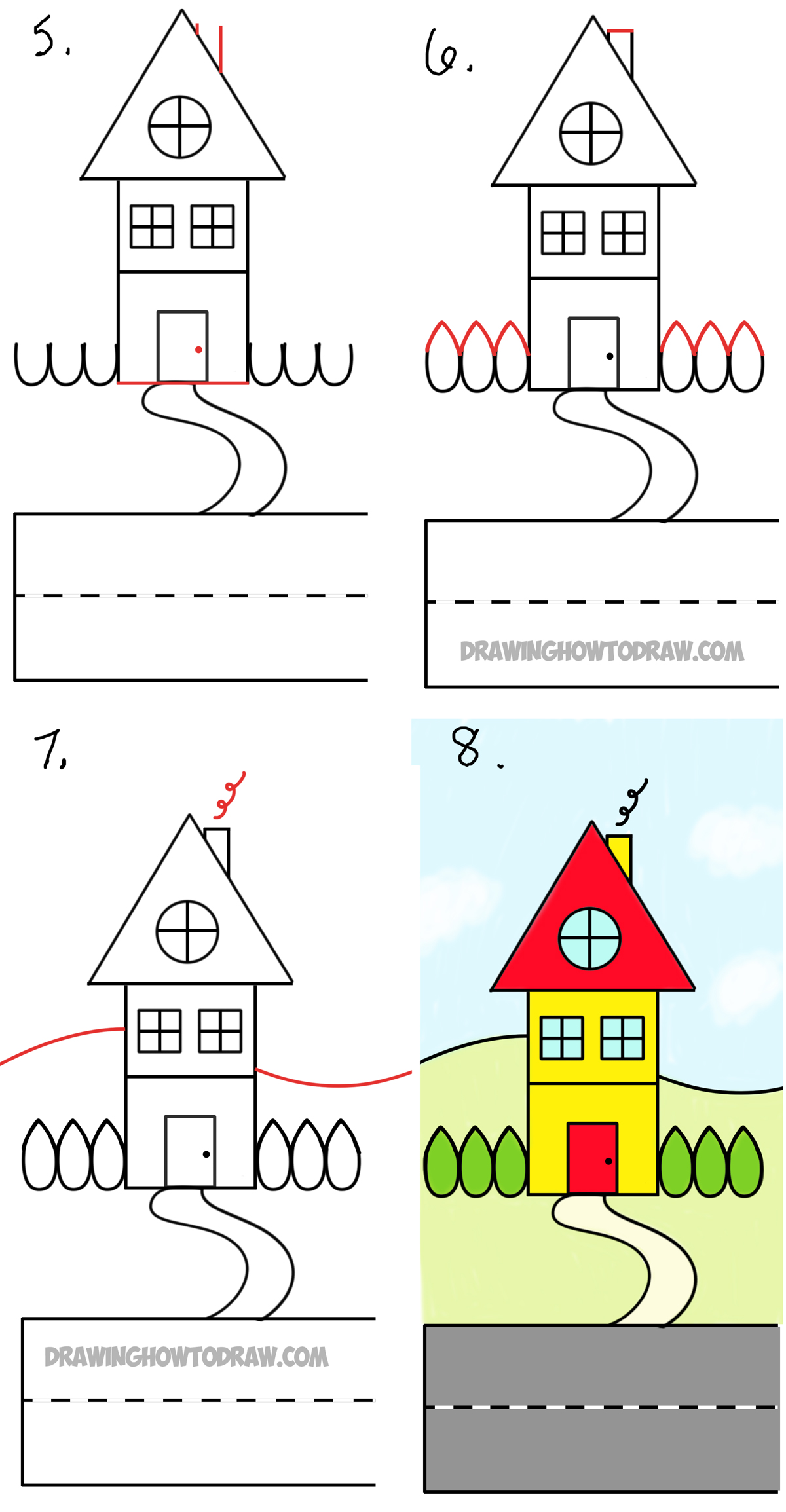 How To Draw A Cartoon House From The Word House An Easy