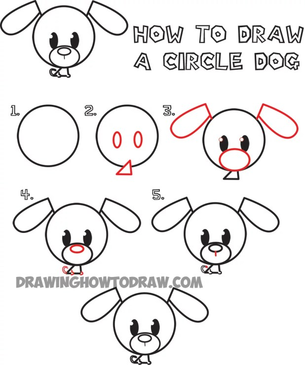 how to draw a cute dog face