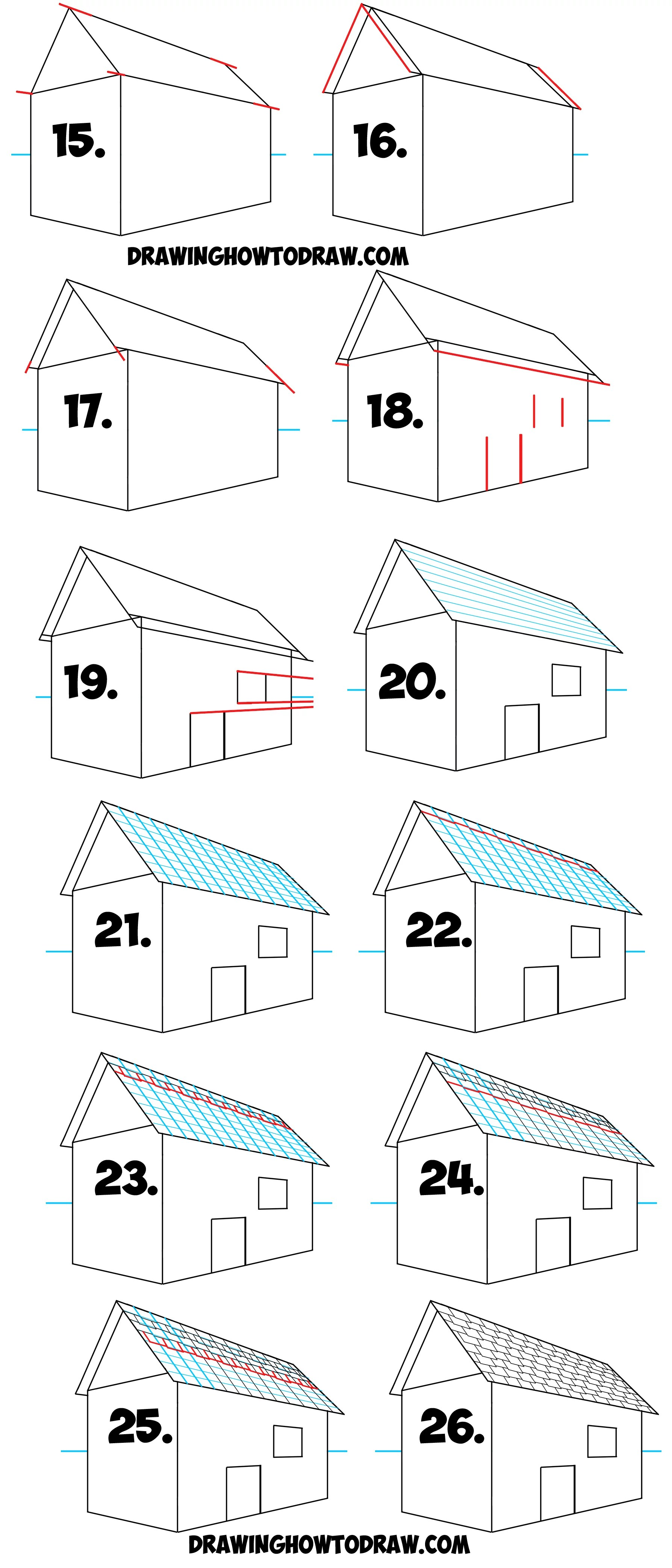 How To Draw A Roof And Shingles With Two Point Perspective