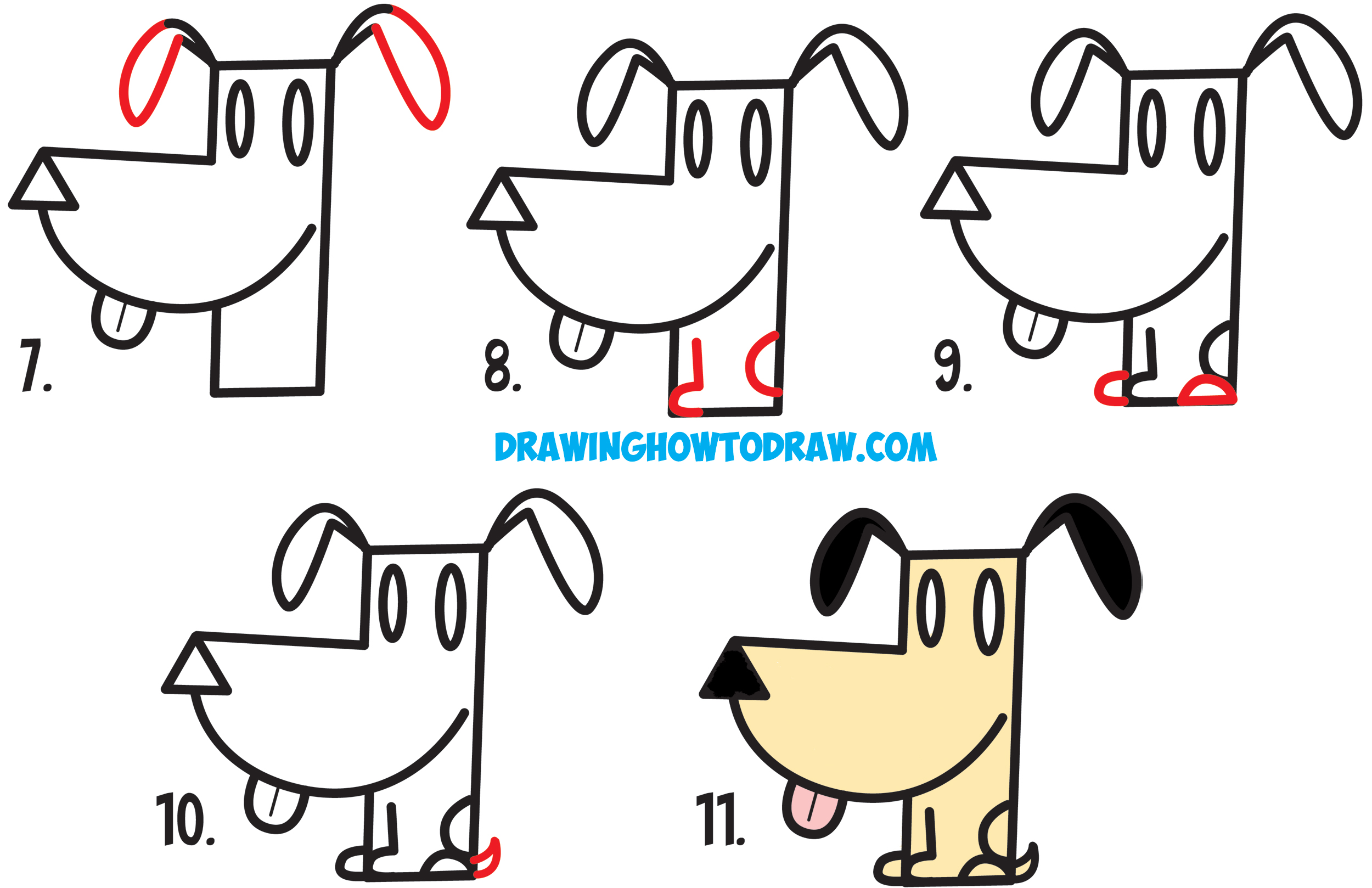 How To Draw A Cartoon Dog From An Arrow Shape Easy Step By Step Drawing Tutorial For Kids How To Draw Step By Step Drawing Tutorials