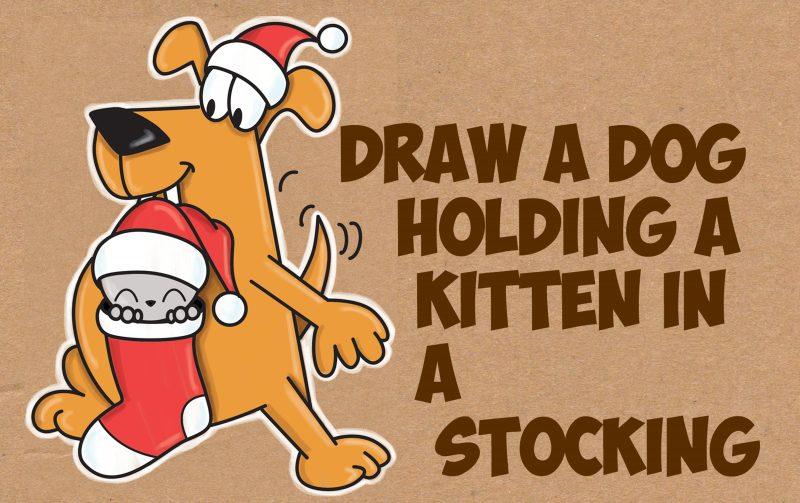 How To Draw A Cartoon Dog Holding A Cute Kawaii Kitten