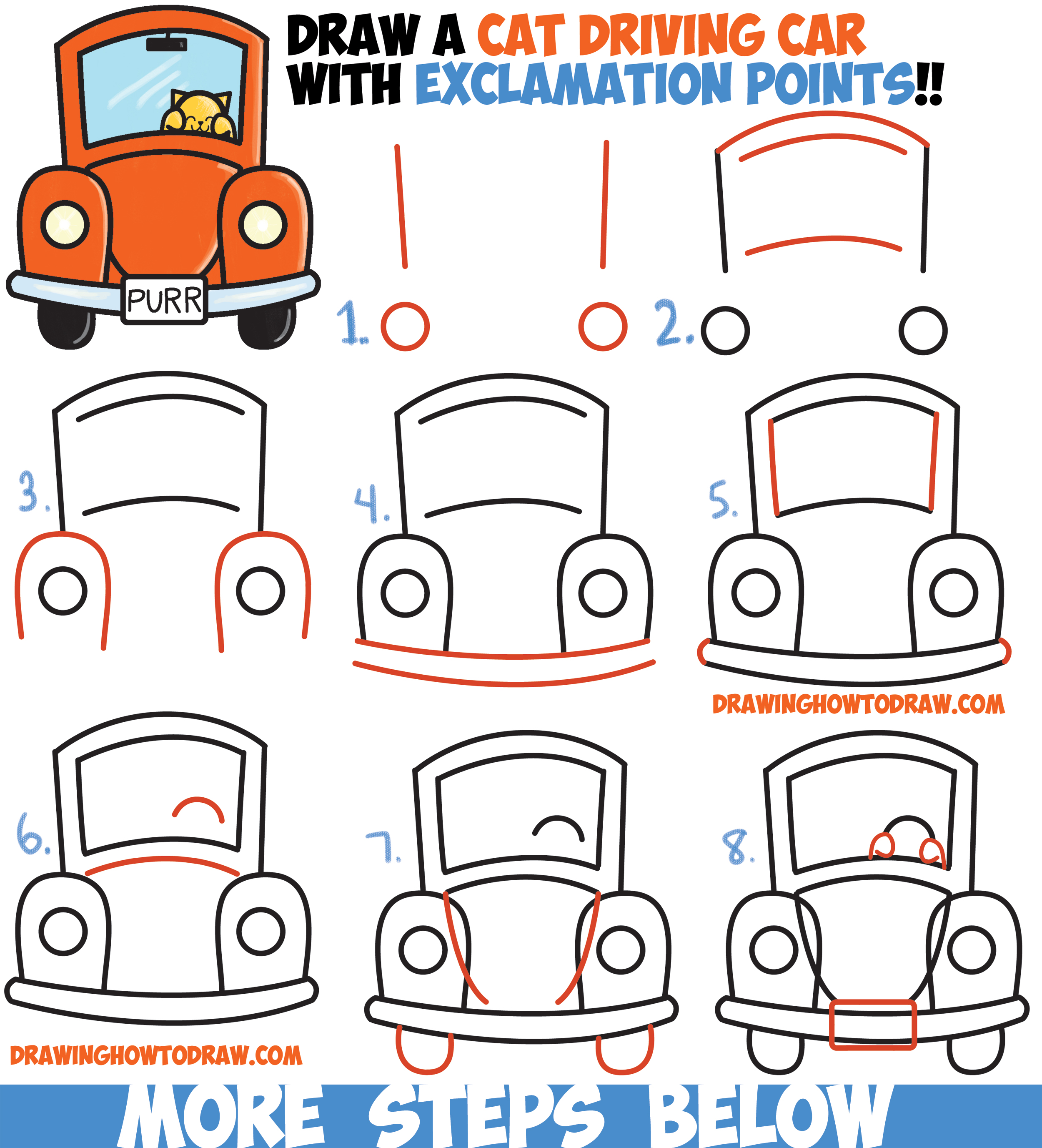 How to Draw Cute Cartoon Cat Driving a Car from ...