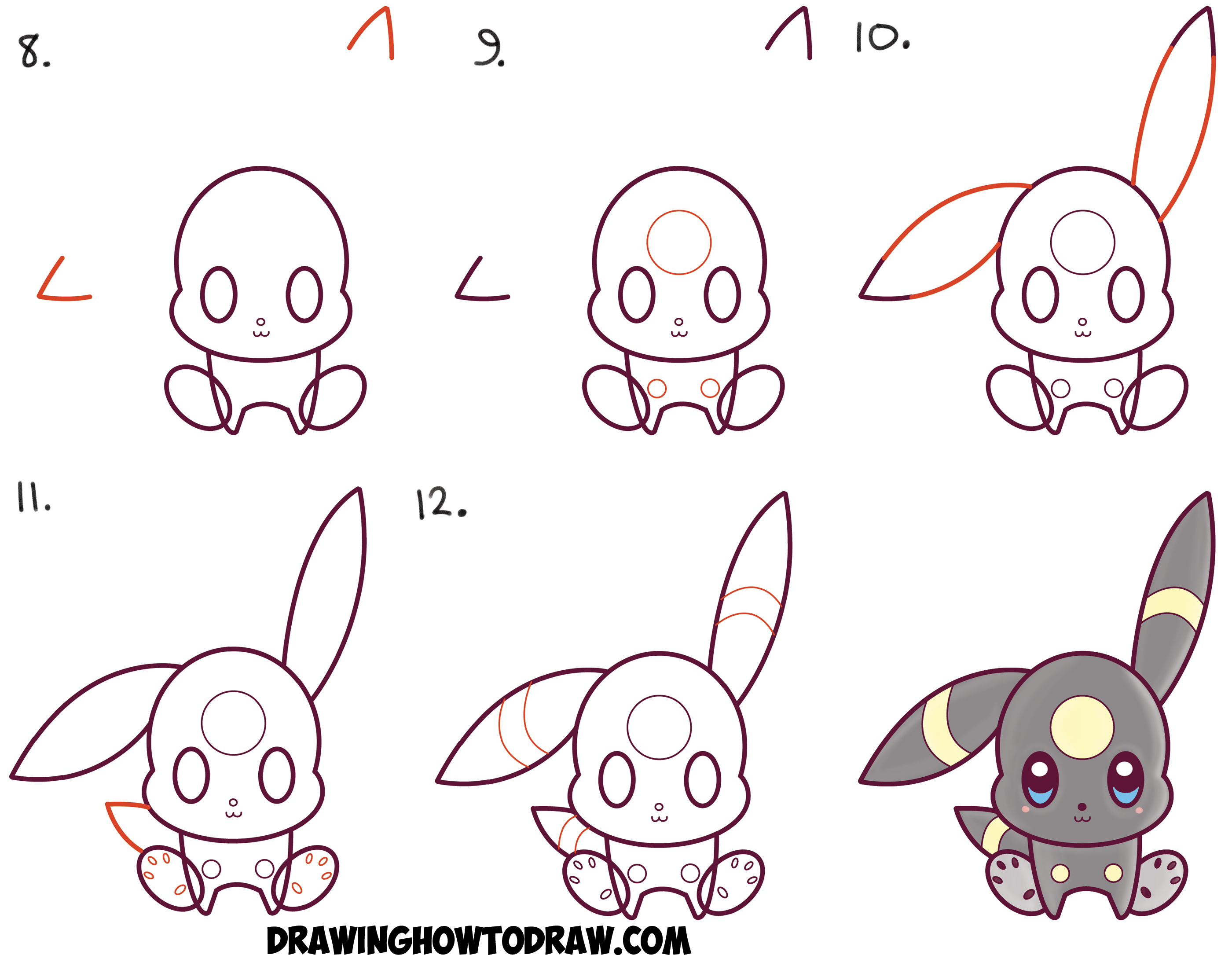 How To Draw Cute Kawaii Chibi Umbreon From Pokemon Easy Step By Step Drawing Tutorial For Kids How To Draw Step By Step Drawing Tutorials