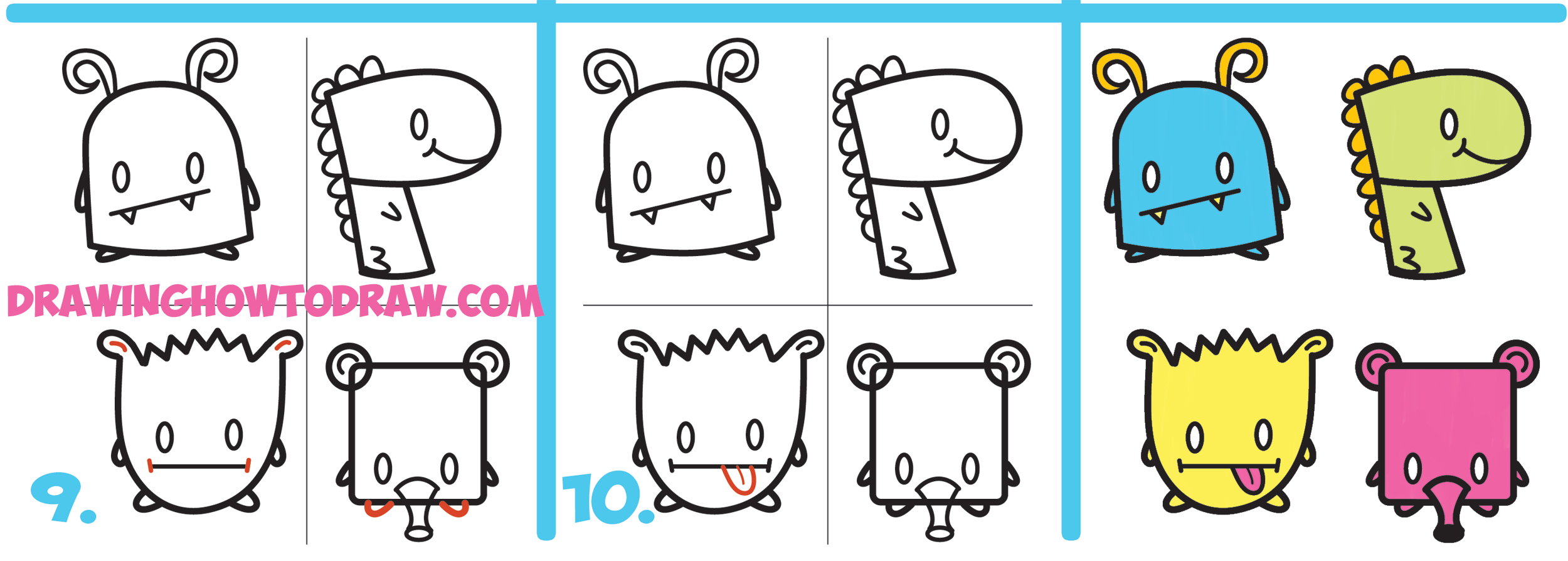 How To Draw Cute Cartoon Monsters From Simple Shapes