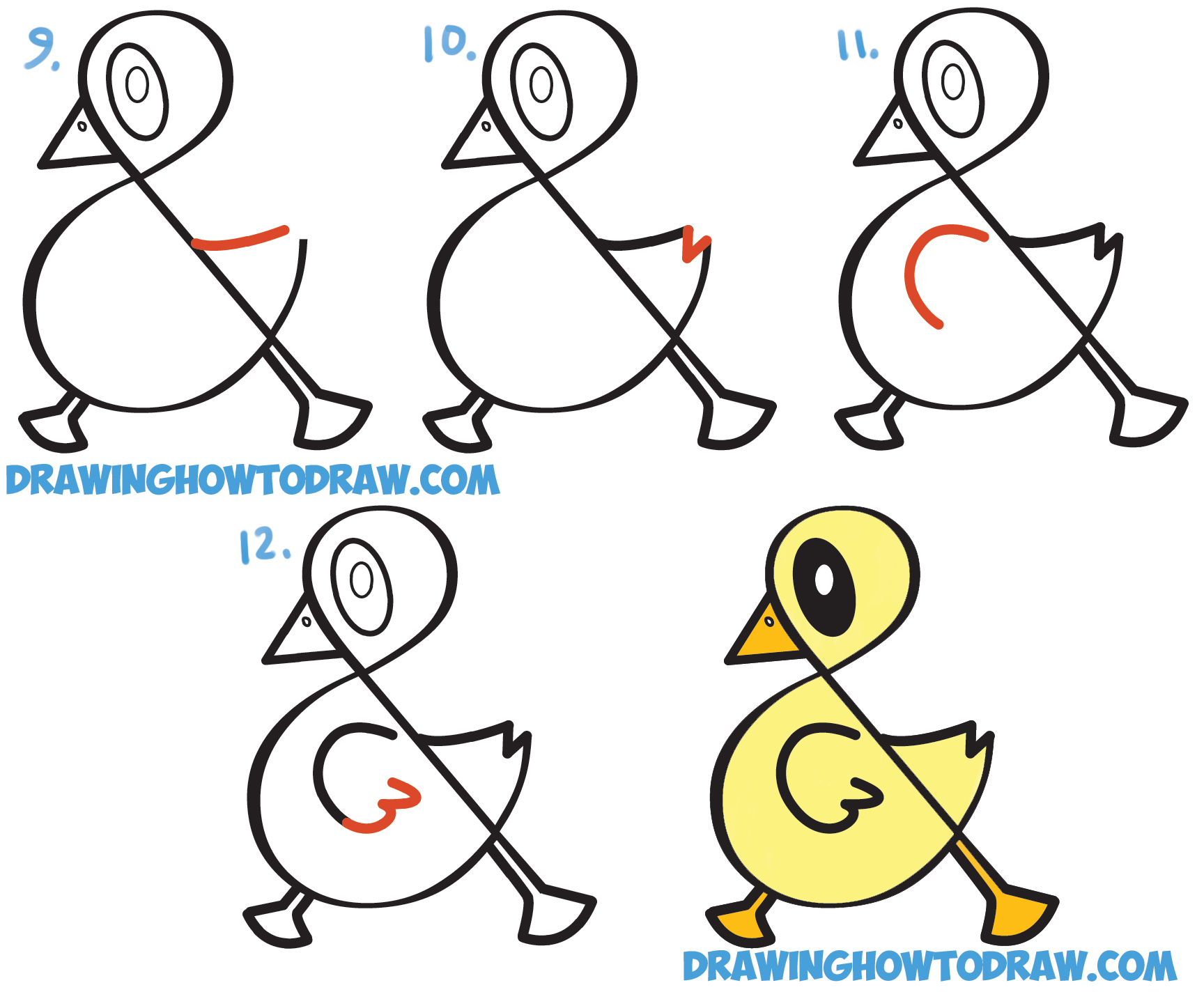 Easy Drawings How To Draw A Cute Cartoon Duck From