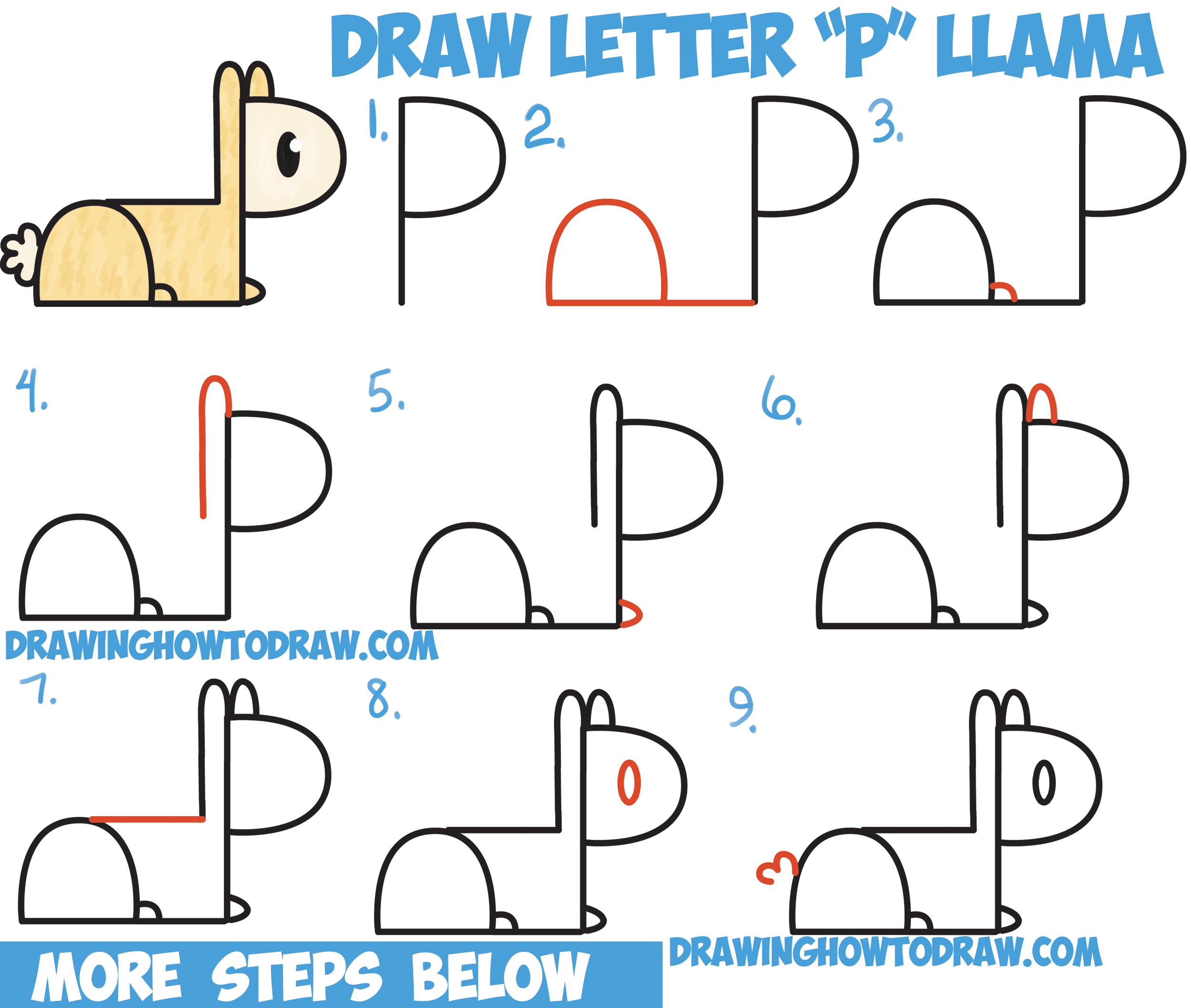 How To Draw Cute Cartoon Kawaii Llama Or Alpaca From P