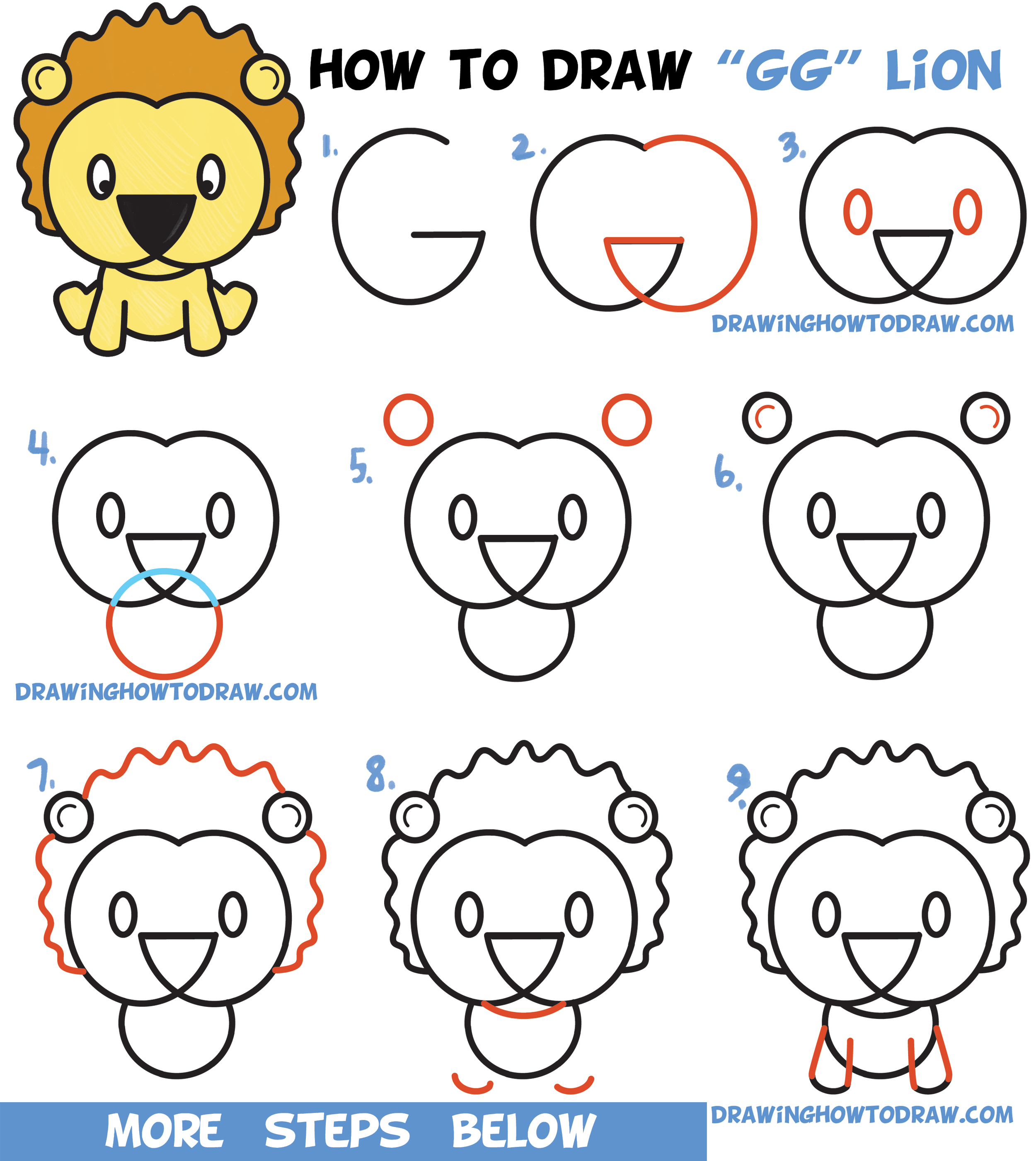 Learn How To Draw A Cute Cartoon Lion From Letters G G Easy Step By Step Drawing Tutorial For Kids How To Draw Step By Step Drawing Tutorials