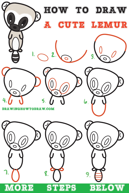 Learn How To Draw A Super Cute Cartoon Lemur Easy Step By