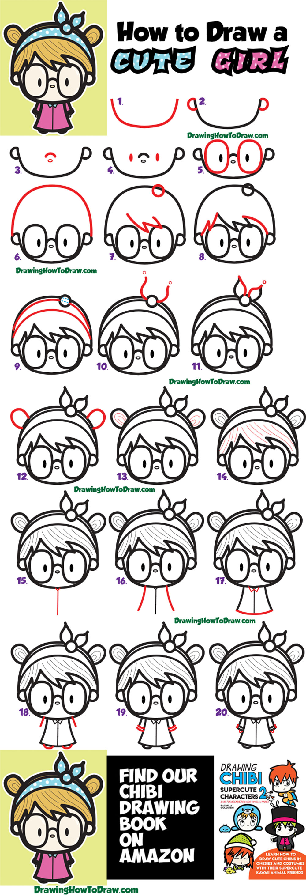 20 Inspiration Easy Cartoon Girl With Glasses Drawing