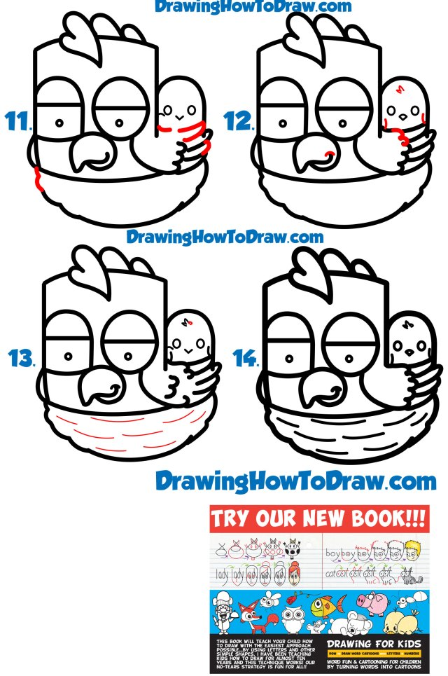 """Learn How to Draw a Cartoon Hen / Chicken from the Word """"hen"""" Word Toon Simple Steps Drawing Lesson for Beginners"""