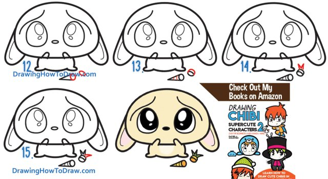 Learn How to Draw a Sad, Scared, Worried Cartoon Bunny Rabbit with Simple Step by Step Drawing Lesson for Kids