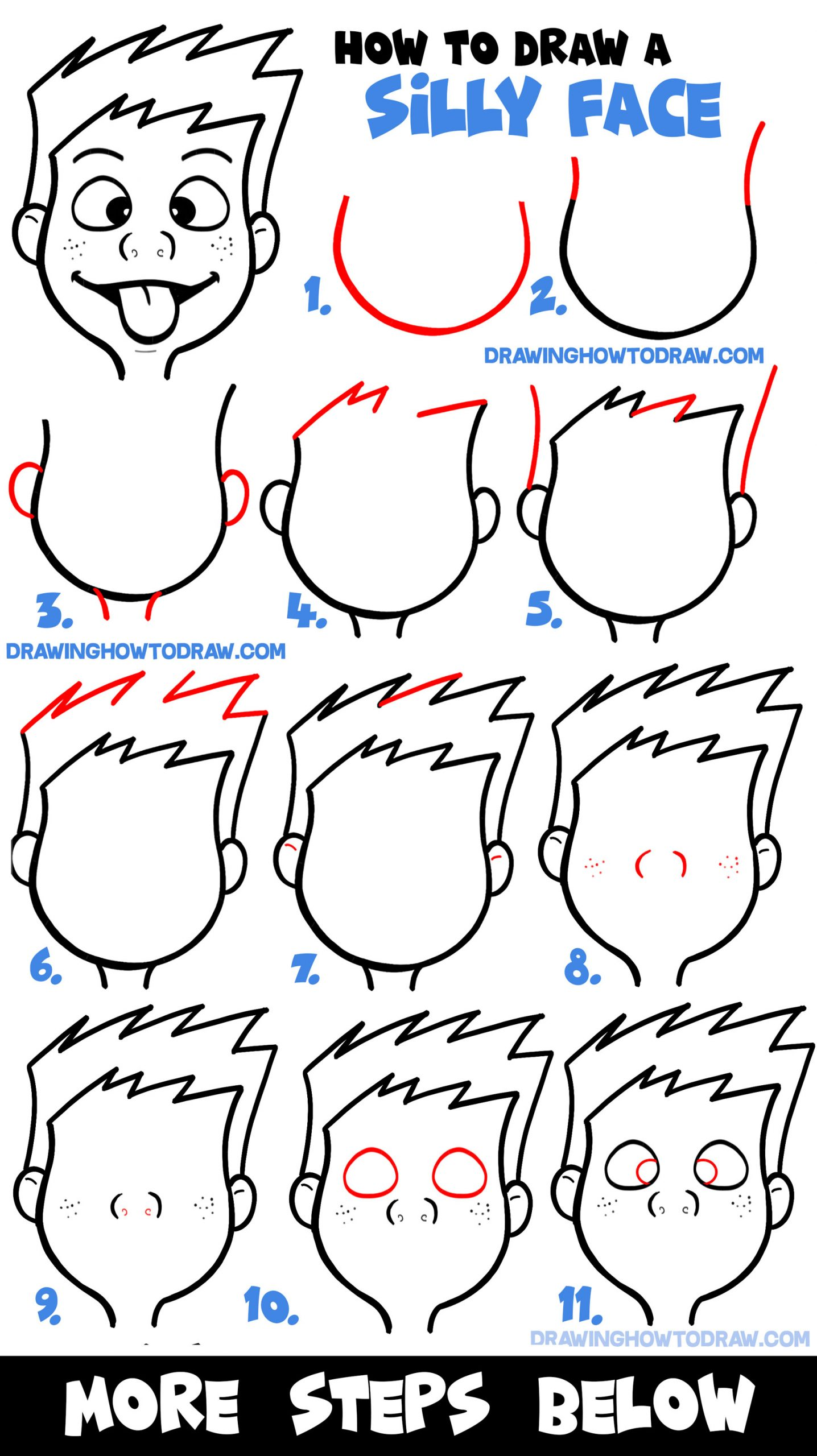How To Draw Cartoon Facial Expressions Silly Faces