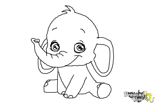 How To Draw An Elephant For Kids Drawingnow