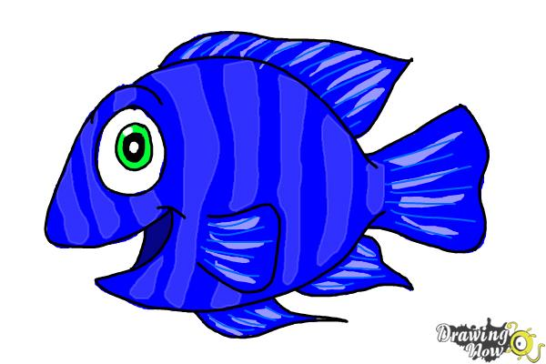 Haw To Draw A Cartoon Fish DrawingNow