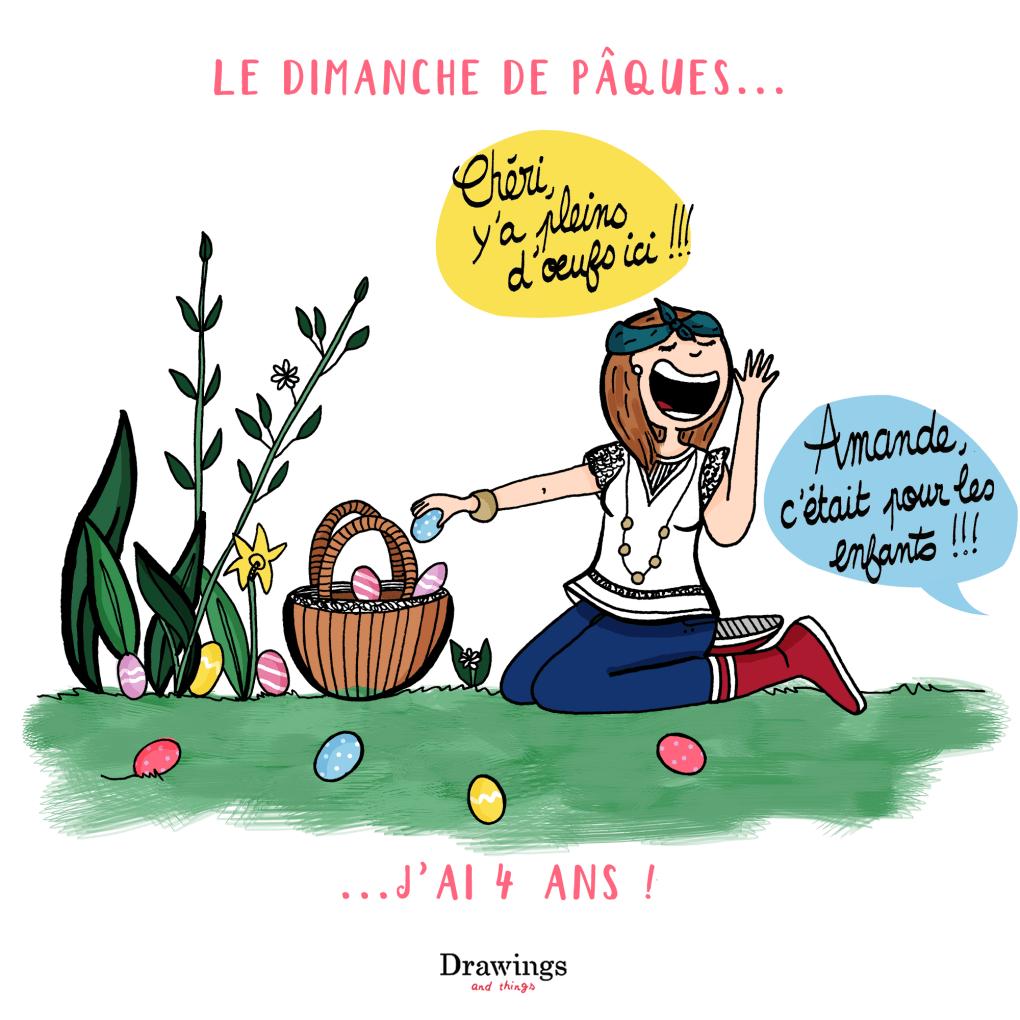 Week-end de Pâques, c'est aussi la chasse aux oeufs / illustration by Drawingsandthings