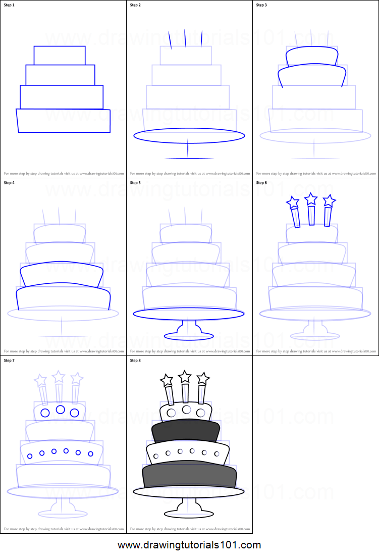 How To Draw A Birthday Cake With Candles Printable Step By Step Drawing Sheet Drawingtutorials101 Com