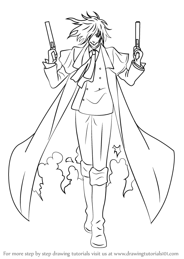 Learn How To Draw Alucard From Hellsing Hellsing Step By