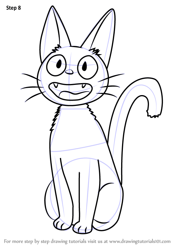 Step By Step How To Draw Jiji From Kikis Delivery Service