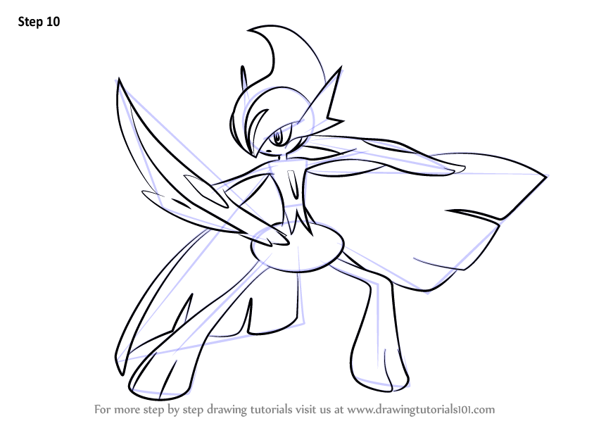 Learn How To Draw Mega Gallade From Pokemon Pokemon Step