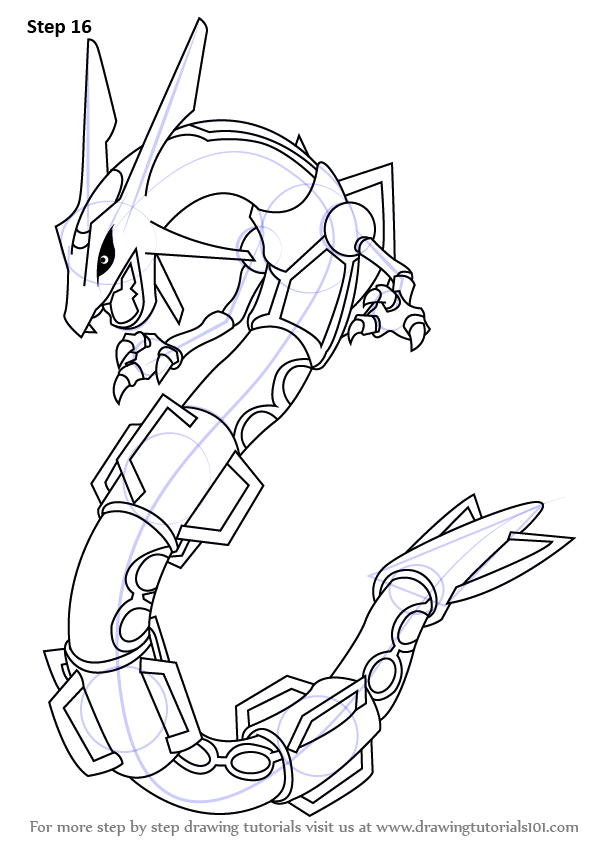Learn How To Draw Rayquaza From Pokemon Pokemon Step By