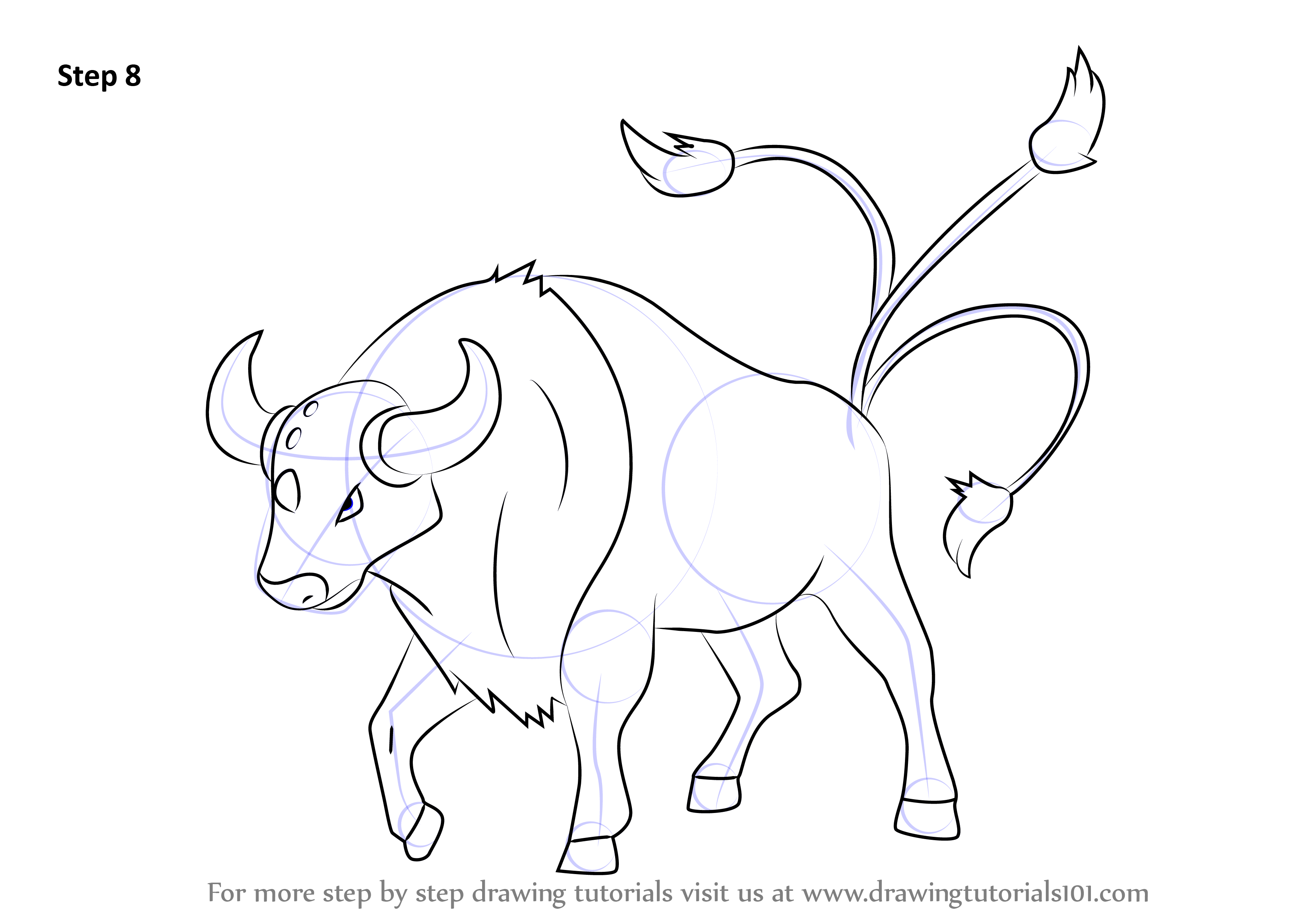 Learn How To Draw Tauros From Pokemon Pokemon Step By